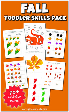 Fall Toddler Skills Pack - Gift of Curiosity Apple Activities, Autumn Activities For Kids, Kids Learning Activities, Kindergarten Activities, Preschool Ideas, Halloween Activities, Learning Tools, Elementary Science Classroom, Play Activity