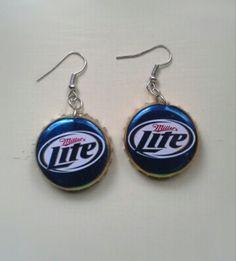 Bottle Cap Earrings Miller Lite Beer by BeadsAndBottleCaps on Etsy