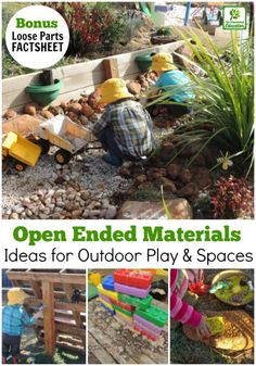 Providing open ended play materials in outdoor play is cost effective & allows children the opportunity to direct their own play. Find out how to get started simply & what to use - bonus printable factsheet available. Outdoor Learning Spaces, Kids Outdoor Play, Outdoor Play Areas, Outdoor Activities For Kids, Outdoor Fun, Outdoor Education, Childcare Activities, Outdoor Games, Summer Activities