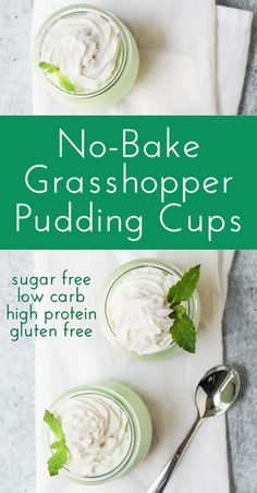 If you're craving something sweet and minty, make these easy no-bake Grasshopper Pudding Cups! This delicious chilled dessert also happens to be low calorie, sugar free, and gluten free too! High Protein Desserts, High Protein Low Carb, Cookbook Recipes, Dessert Recipes, Dinner Recipes, Almond Milk Yogurt, Pudding Cups, Pudding Recipes, Keto Friendly Desserts