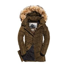 Superdry Glacier Parka Jacket ($155) ❤ liked on Polyvore featuring outerwear, jackets, quilted parka, light weight jacket, brown quilted jacket, lightweight zip jacket and brown parka