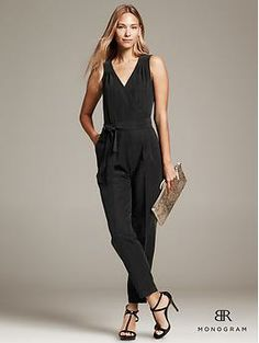 BR Monogram Belted Jumpsuit…I would wear this with a coat on top for work…with ballet flats, and a large tote.