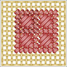The Framed Scotch Stitch is a variation of the popular Scotch Stitch. It features Scotch Stitch blocks framed by tent stitch border.: Working the Framed Scotch Stitch Bargello Patterns, Bargello Needlepoint, Needlepoint Stitches, Needlepoint Canvases, Needlework, Plastic Canvas Stitches, Plastic Canvas Tissue Boxes, Plastic Canvas Crafts, Plastic Canvas Patterns