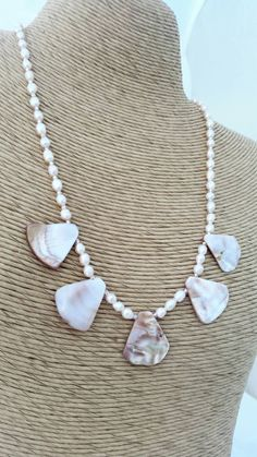 Pink mother of pearl fan necklace - pink fan shell necklace - pink pearl necklace - Easter dress necklace - Bridal jewelry - gift for her