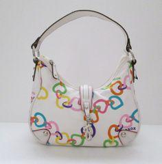 XOXO Purse Handbag White with Rainbow Heart Design Single Strap #XOXO #ShoulderBag