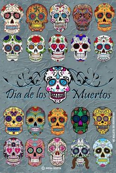 Find Set Sugar Skulls Illustrations Dead Day stock images in HD and millions of other royalty-free stock photos, illustrations and vectors in the Shutterstock collection. Sugar Skull Painting, Sugar Skull Art, Sugar Skulls, Candy Skulls, Body Painting, Mexican Skulls, Mexican Folk Art, Art Plastique Halloween, Skull Art