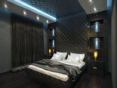 Маленькая спальня с оформлением в стиле хай тек