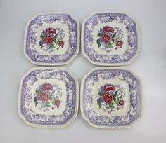 Vintage Spode Mayflower Square Plate Set ♥ See more at www.PeriodElegance.etsy.com  #vintagechina #spodechina #spodemayflower #squareplate