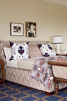 """A new duvet, pillows and dust ruffle can change the whole feeling of a bedroom. Don't be afraid to mix patterns—as long as you keep them in the same color palette, the effect should be a pleasing, textured one."""" —Alex Papachristidis, author of The Age of Elegance: Interiors by Alex Papachristidis (Rizzoli)"""