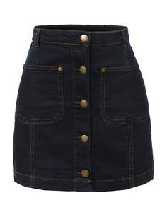 LE3NO Womens Denim Jean Button Down Flared Mini Skirt
