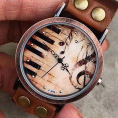 piano,High notes-Women wrist watch-Genuine leather watch-Personalized retro watch jewelry-Handmade wrap watch-Music Rivet watch V53
