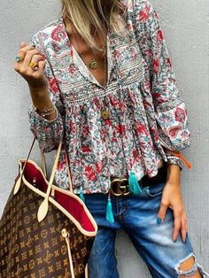 heyjue Floral Red Green Yellow Purple Blue Women Blouses&shirts Vintage Polyester V Neck Long Sleeve Party Blouses&shirts – Heyjue Blouse Col V, V Neck Blouse, Bohemian Mode, Boho Chic, Boho Fashion, Fashion Outfits, Fashion Design, Womens Fashion, Ladies Fashion