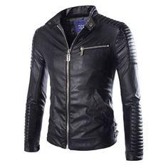 Men's Leather Jackets, Winter Zipper Outwear Casual Slim Solid PU Coat 3 Colors M-XXL