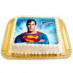 Un tort cu poza comestibila pentru iubitorii lui Superman Superman, Home Decor, Decoration Home, Room Decor, Interior Decorating