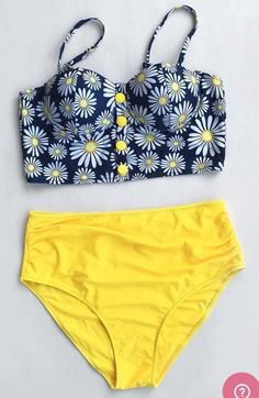 Navy And Yellow Floral High Waisted Bathing Suit