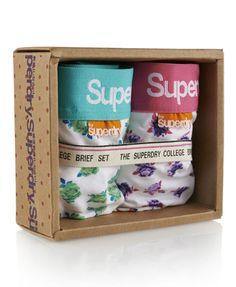 Womens - College Brief Twin Pack in Mint Petal & Lavender Petal | Superdry