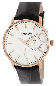 Kenneth Cole New York Round Leather Strap Watch