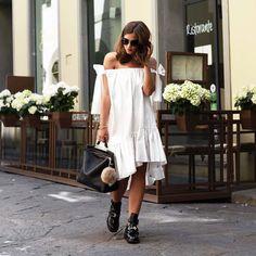 Outfit: Msgm Ribbon Tie Off Shoulder Poplin Dress w/ Balenciaga Ceinture Boots I Florence