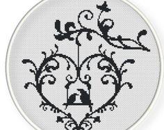 Instant Download,Free shipping,Cross stitch pattern, Cross-StitchPDF, pattern design ,heart  birds ,zxxc0222