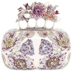 Alexander Mcqueen Women Flower Embroidered Knuckles Box Clutch featuring polyvore, women's fashion, bags, handbags, clutches, multi ivory, knuckle box clutch, alexander mcqueen clutches, hard clutch, beaded purse and white clutches #alexandermcqueenbag