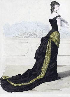 shewhoworshipscarlin: plaque de mode robe de soirée, fin des années 1870.