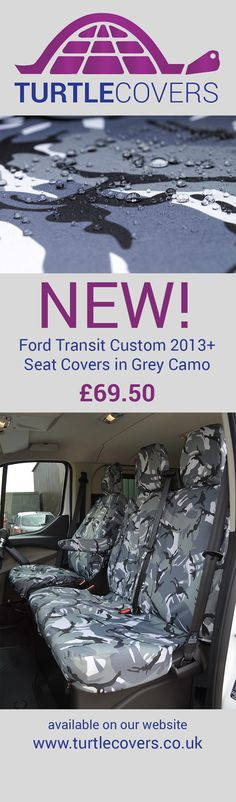 New colour seat covers for Ford Transit Custom 2013+ available from www.turtlecovers.co.uk #waterproof #seatcovers #transitcustom #ford #camo #camouflage #grey #waterdroplets #turtlecovers