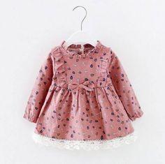 Sweet Leaves Pattern Long-sleeve Dress for Toddler Girls, 4 different colors ava. Baby Girl Dress Patterns, Toddler Girl Dresses, Little Girl Dresses, Girls Dresses, Toddler Girls, Baby Girl Fashion, Toddler Fashion, Kids Fashion, Cute Dresses