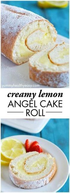Creamy Lemon Angel Cake Roll {+ 21 Baby Shower Desserts} -- A light angel cake roll filled with a creamy lemon filling; makes an impressive (lighter) dessert and uses NO butter or oil! 13 Desserts, Lemon Desserts, Lemon Recipes, Sweet Recipes, Delicious Desserts, Dessert Recipes, Yummy Food, Angel Food Cake Desserts, Angel Food Cake Mix