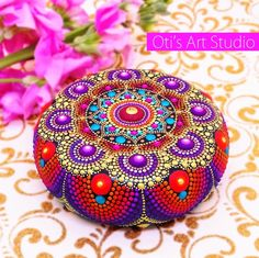 Your place to buy and sell all things handmade Dot Art Painting, Mandala Painting, Stone Painting, Pebble Painting, Mandala Painted Rocks, Mandala Rocks, Painted Stones, Stone Mandala, Diy Art Projects