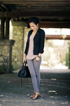 Blazer :: Armani Exchange  Top :: Splendid  Bottom :: Paige denim  Accessories :: Vintage leaf ring & Alexander McQueen bracelet  Bag :: Balenciaga  Shoes :: Sam Edelman