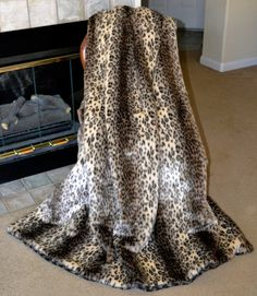 Stunning Leopard Faux Fur Fake Fur Blanket by CindyHeitkampDesigns