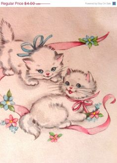 Cute Kitties Playing  1960s - GoodlookinVintage