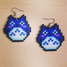 Totoro earrings hama mini beads  by todopixeles