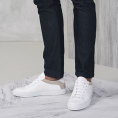 When it comes to white sneakers, we have a very particular philosophy: minimal is more. Our pristine, pared-down pair will wander with you anywhere—from Brooklyn to Berlin. All White Shoes, White Sneakers, Leather Sneakers, Casual Outfits, Men Casual, Suede Shoes, Classic White, White Leather, Wander