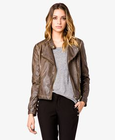 Distressed Faux Leather Moto Jacket | LOVE21