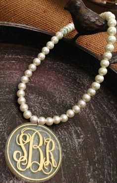 Monogrammed Necklace:  Pearl Style Necklace with Monogram Acrylic Pendant. Great Bridesmaid gifts