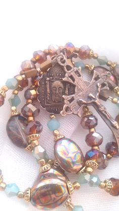 Holy Face Small Pocket Chaplet -  Solid Bronze Center and Crucifix