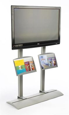 AmazonSmile: Aluminum TV Stand for a 42 to 72 Inch Television, with 2 Literature Pockets - Silver: Electronics