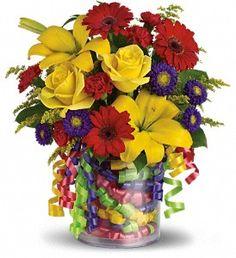Teleflora's Birthday Ribbon Bouquet - by Spencer's Designer Florist, Gifts & Arrangements http://www.spencersflorist.com/jacksonville-flowers/telefloras-birthday-ribbon-bouquet-372951p.asp?strevar16=You May Also Like