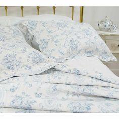 Florence Blue Toile Bedspread | Luxury Bedspread
