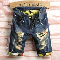 19.91$  Watch here - http://ali19a.shopchina.info/go.php?t=32803078683 - 2017 Summer Bermuda Rushed train Zipper Short Jeans Homme Metrosexual Casual Jeans Male Straight Hole Men's Knee Length Denim 19.91$ #buyonlinewebsite
