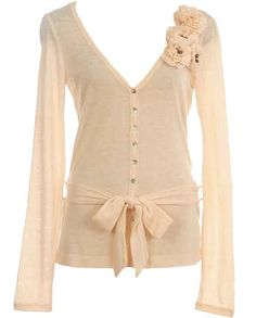 Belted Corsage Cardigan -- just so girly and simple!