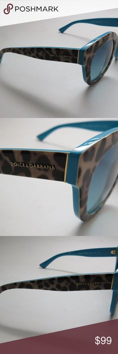 NWOT D&G Leopard/Turquoise SunGlasses DG423 NWOT Dolce and Gabbana sunglasses DG4235 Acetate Brown print - Turquoise  Item description: Dolce and Gabbana sunglasses Item reference : DG4235 2860/4S  Model : Womens  Material : Acetate Colour code : 2860/4S Frame colour : Brown leopard print - Turquoise Lens colour : Blue Gradient UV filter category : 2  Frame size in mm  Standard size (in millimetres) - Lens diameter : 49 - Bridge distance : 23 - Arm length : 140 - Lens height : 59 - Total…