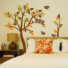Wall Stickers Wall Decals, Modern The bird owl and trees PVC Wall Stickers - GBP £ 17.41