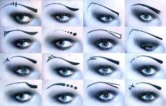 Creative Gothic Eyebrows different styles! Edgy Makeup, Gothic Makeup, Eye Makeup Art, Cute Makeup, Eyebrow Makeup, Dark Makeup, Gothic Beauty, Makeup Blog, Makeup Inspo