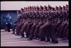 Officers and Cadets of Yugoslavian military colleges marching down Revolution Boulevard past the Yugoslav Parliament Building in the 1975 Belgrade Victory Day Parade.