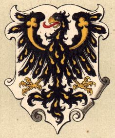 The Principality of Trient (now Trentino, Italy) was from 1027-1803 an independent state ruled by the Bishops of Trient. In 1803 the state was incorporated into Austria-Hungary. The arms were granted in 1339 to Bishop Nicholas by King Johann of Bohemia, and is identical to the old arms used by the Kings of Bohemia until King Wenzel I. The Kings of Bohemia acted as protectors for the bishops at the time