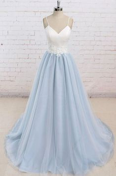 Simple Spaghetti Straps Light Blue A line Long Evening Prom Dresses Simple Prom Dress, Prom Dress Long, Prom Dress A-Line, Blue Evening Dresses, Prom Dress Prom Dresses 2019 Straps Prom Dresses, Backless Prom Dresses, A Line Prom Dresses, Tulle Prom Dress, Formal Dresses For Women, Prom Party Dresses, Party Gowns, Dance Dresses, Dress Formal
