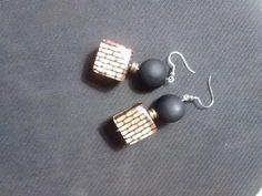brown and black bead earrings.