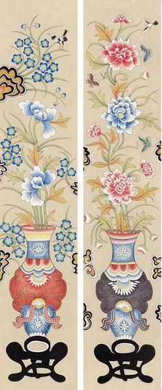 회원전 갤러리 - 신승엽 Korean Crafts, Geisha Art, Pretty Patterns, Traditional Art, Asian, Embroidery, Painting, Tinkerbell, Drawings